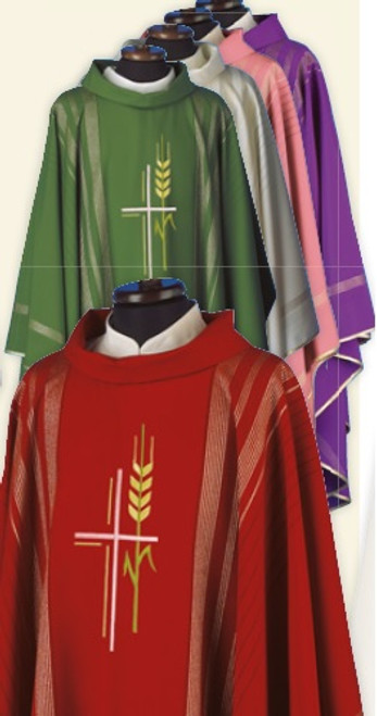 #216 Gold Embroidered Cross & Wheat Chasuble | Roll Collar | Wool/Gold Thread | All Colors