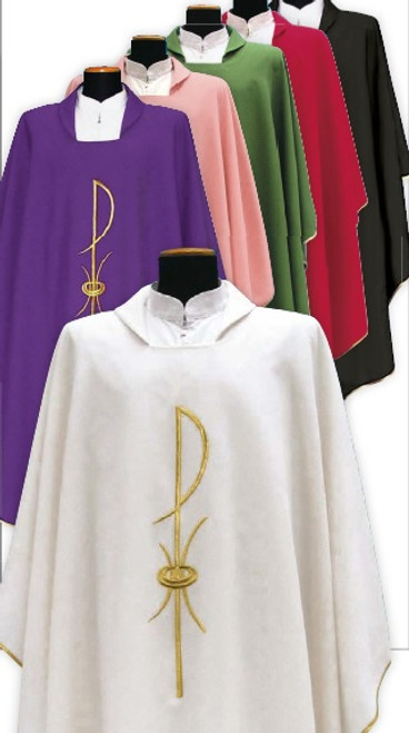 #1205 Chi Rho Chasuble | Square Collar | 100% Poly | All Colors | Buy 4 Get 1 Free!