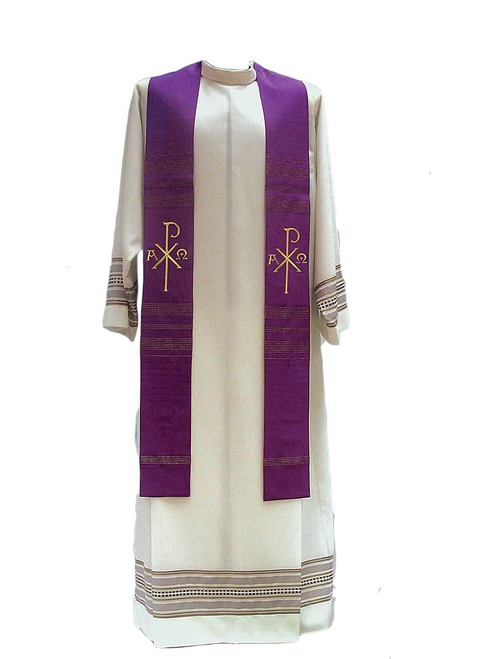 #391 Gold Embroidered Chi Rho Overlay Stole   Wool/Gold Thread   All Colors