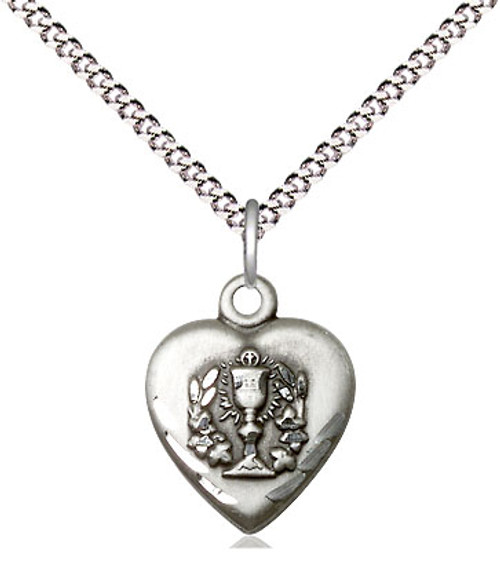 "Communion Heart Sterling Silver Medal | 18"" Chain"