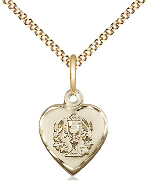 "Communion Heart Gold Filled Medal | 18"" Chain"