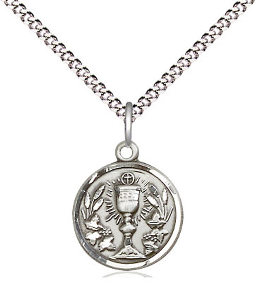 "Communion Chalice Sterling Silver Medal | 18"" Chain"