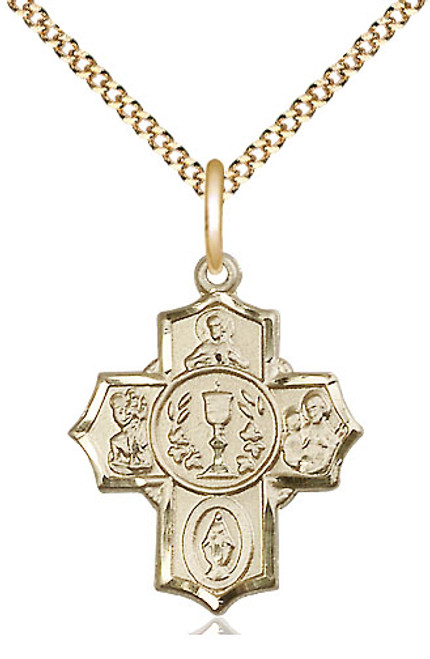 "First Communion 4-Way Gold Filled Medal | 18"" Chain"