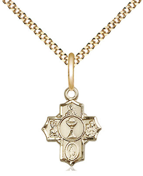"""Small First Communion 5-Way Gold Filled Medal 
