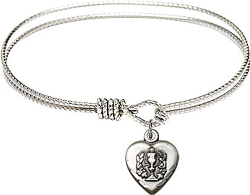 First Communion Heart Chalice Bangle | Pewter