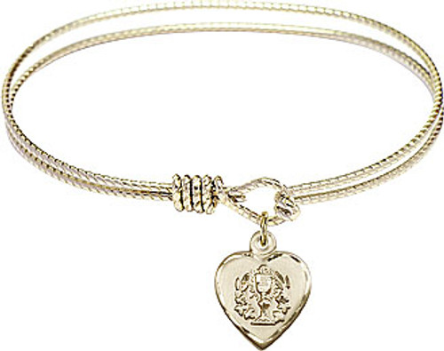 First Communion Heart Chalice Bangle | Gold Plate