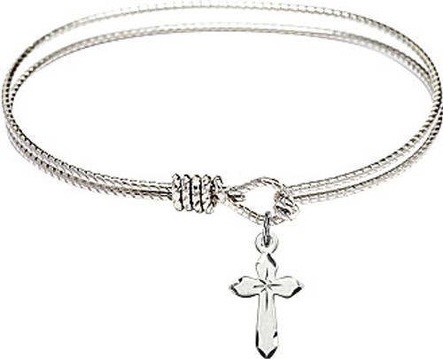 Small First Communion Cross Bangle | Pewter
