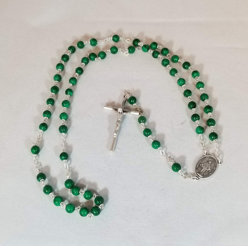 Persian Jade Natural Stone Rosary | 6mm Round Beads | Miraculous Medal Center