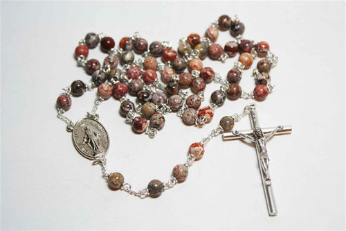 Leopard Skin Jasper Natural Stone Rosary | 6mm Round Beads | Miraculous Medal Center