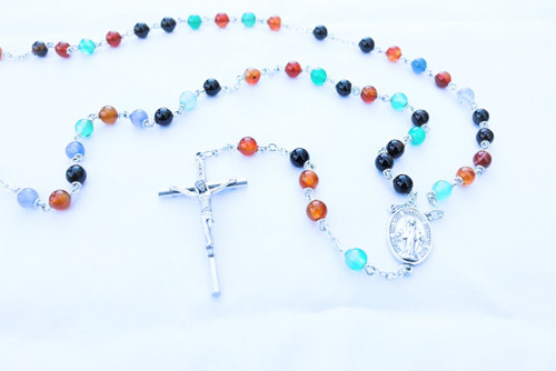 Mix Agate Natural Stone Rosary | 6mm Round Beads | Miraculous Medal Center