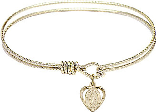 Miraculous Medal Bangle | Gold Plate