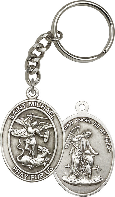 St. Michael the Archangel Silver Finish Keychain