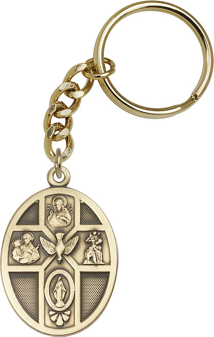 5-Way Holy Spirit Gold Finish Keychain