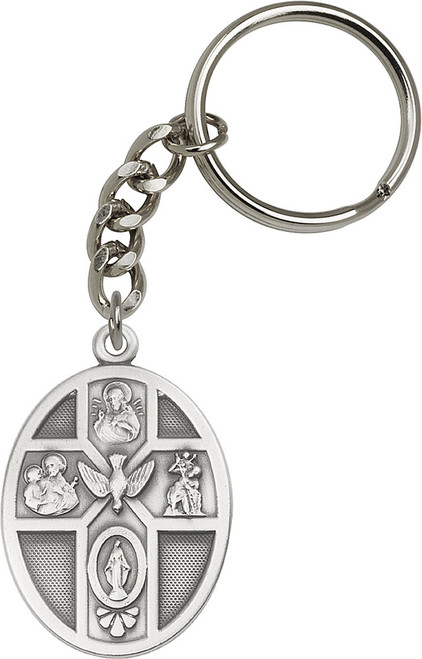 5-Way Holy Spirit Silver Finish Keychain