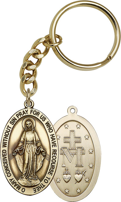 Miraculous Medal Gold Finish Keychain