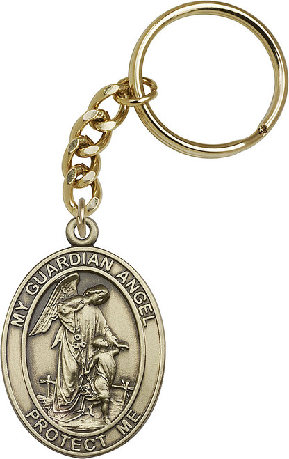 Guardian Angel Gold Finish Keychain
