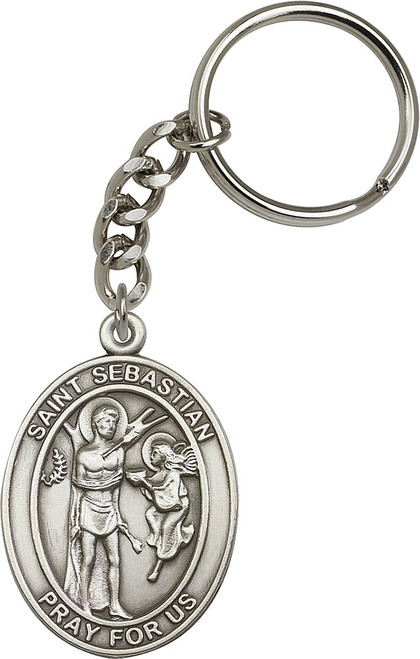 St. Sebastian Silver Finish Keychain