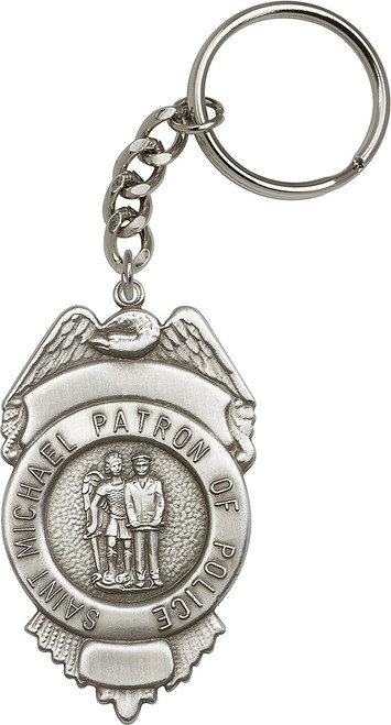 St. Michael the Archangel Silver Finish Badge Keychain
