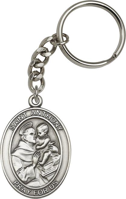 St. Anthony Silver Finish Keychain