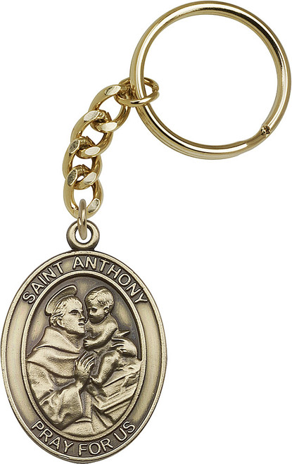 St. Anthony Gold Finish Keychain