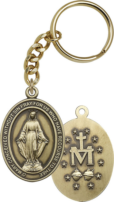 Miraculous Medal Gold Finish Oval Keychain
