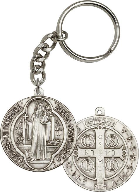 St. Benedict Medallion Silver Finish Keychain