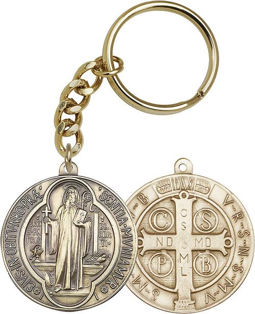 St. Benedict Medallion Gold Finish Keychain