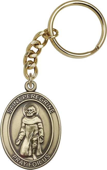 St. Peregrine Gold Finish Keychain