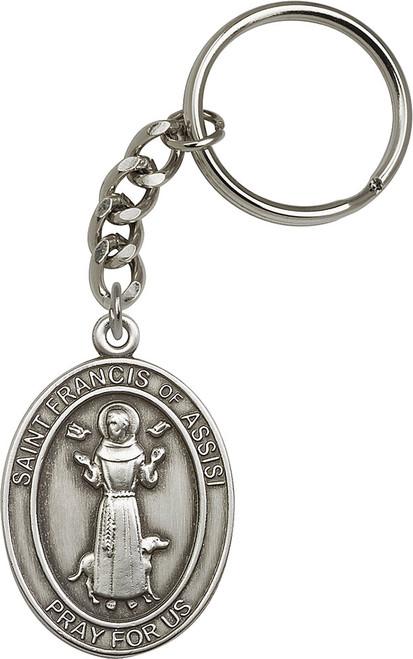 St. Francis Silver Finish Keychain