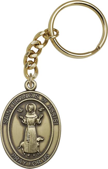 St. Francis Gold Finish Keychain
