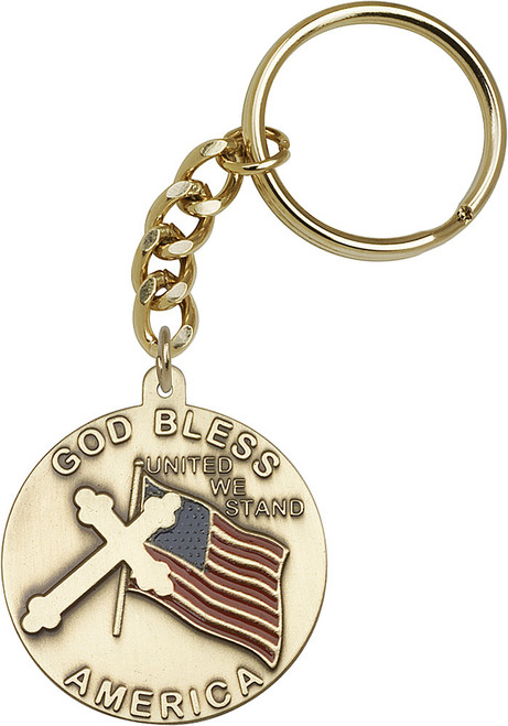 God Bless America Gold Finish Keychain