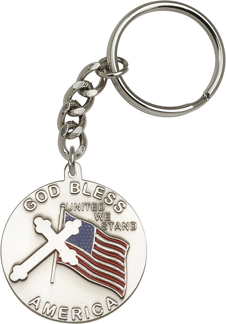 God Bless America Silver Finish Keychain