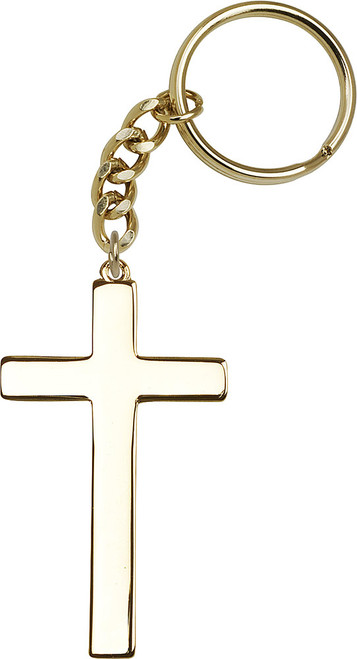 Gold Plate Cross Keychain