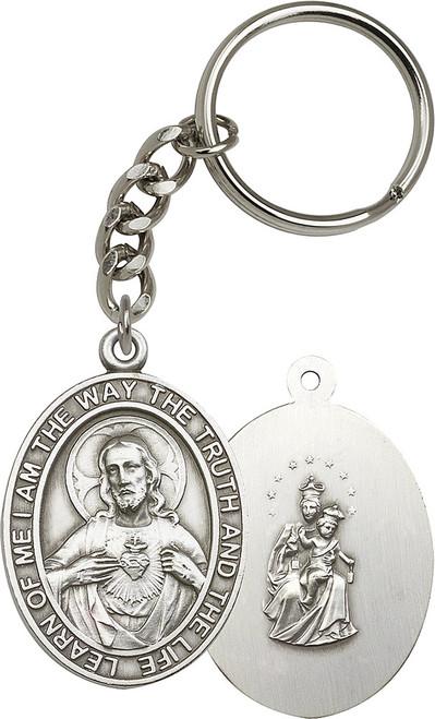 Scapular Silver Finish Keychain
