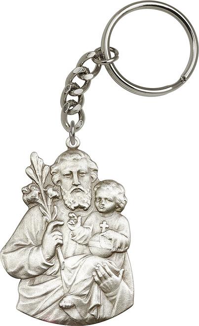 St. Joseph Silver Finish Figure Keychain