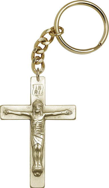 Crucifix Gold Finish Keychain
