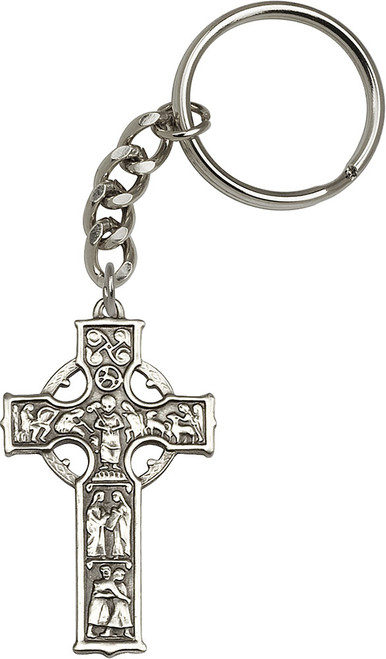 Celtic Cross Silver Finish Keychain