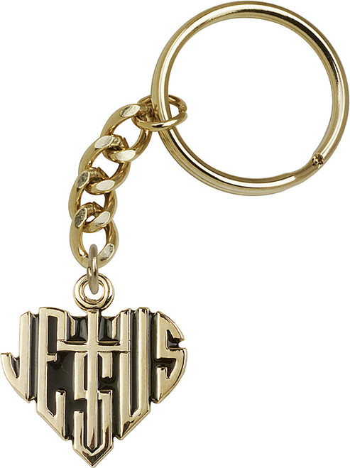 Heart of Jesus with Cross Gold Finish Keychain
