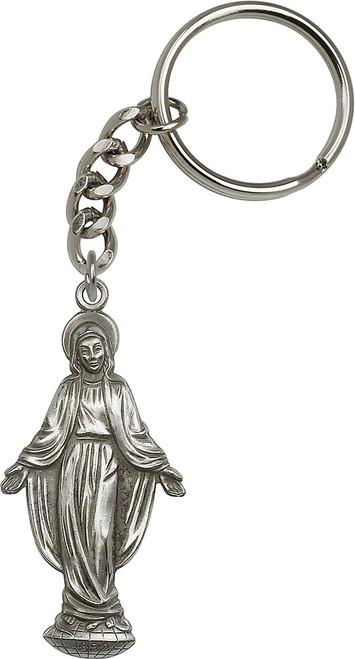 Marian Figure Silver Finish Keychain