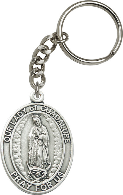 Our Lady of Guadalupe Silver Finish Oval Keychain