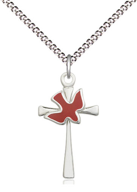 "Holy Spirit Cross | Sterling Silver | 18"" Chain"