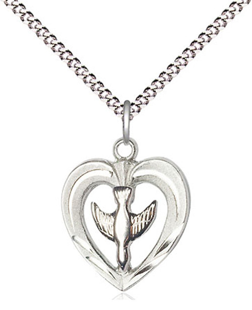 "Holy Spirit in Heart Medal | Sterling Silver | 18"" Chain"