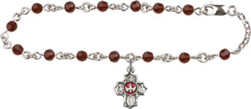 5-Way Confirmation Bracelet with Swarovski Crystal Beads | Silver Plate