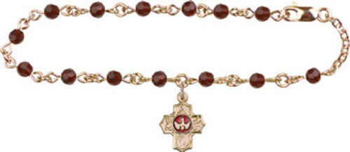 5-Way Confirmation Bracelet with Swarovski Crystal Beads | Gold Plate
