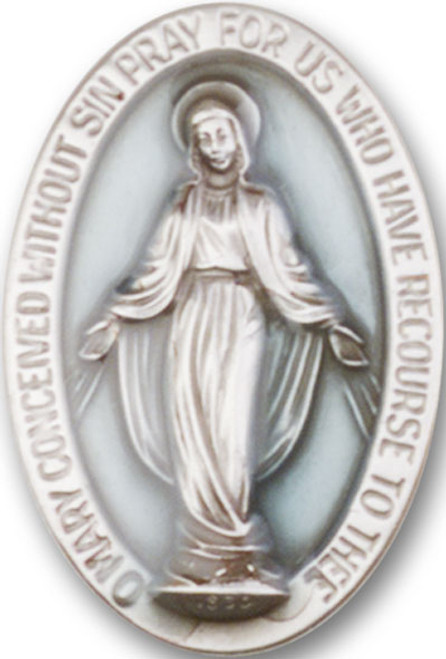 Miraculous Medal Visor Clip with Blue Epoxy | Multiple Finishes Available
