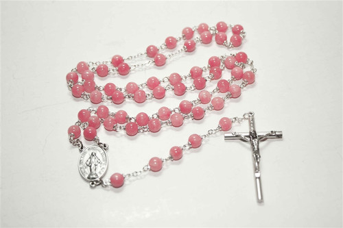 Strawberry Quartz Natural Stone Rosary | 6mm Round Beads | Miraculous Medal Center