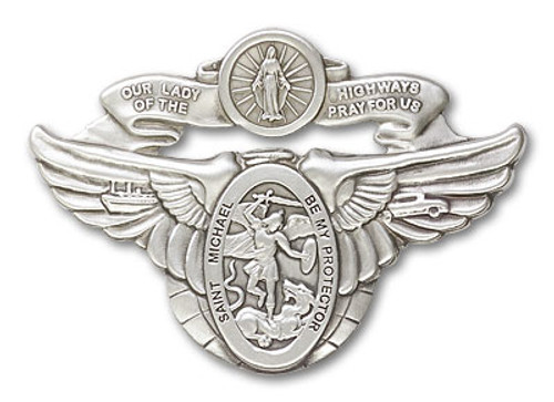 Our Lady of the Highway/St. Michael Visor Clip | Multiple Finishes Available