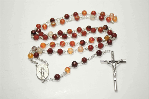 Carnelian Natural Stone Rosary | 6mm Round Beads | Miraculous Medal Center