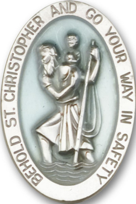 Oval St. Christopher Visor Clip with Blue Epoxy | Multiple Finishes Available