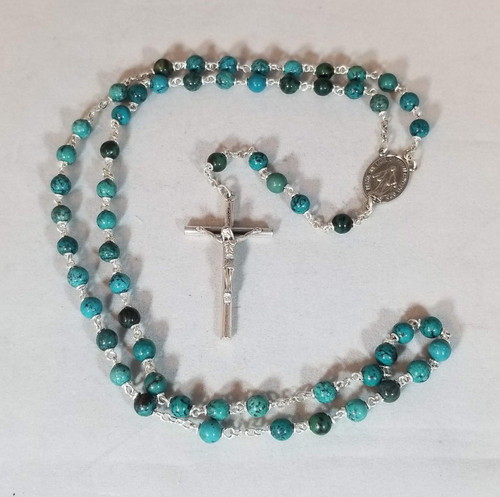 Brazil Rainforest Jasper Natural Stone Rosary | 6mm Round Beads | Miraculous Medal Center